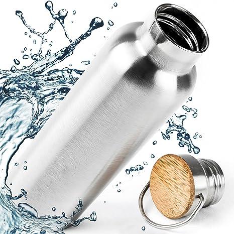 Pure Design - Botella Termica 1l (1000ml) Acero Inoxidable con gorro de bambú, Libre de BPA