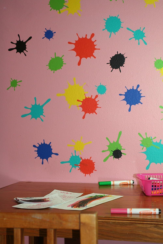 Wall Decor Plus More WDPM1746 Fun Mud Art Room School Splatter and Splotches Wall Vinyl Sticker Dots Decal 5-Inch-1.75-Inch Yellow 13-Piece