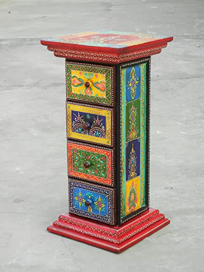 Shivay Arts Wooden Ethnic Multicolor Colorful Sturdy Pillar Chest With 4 Drawers