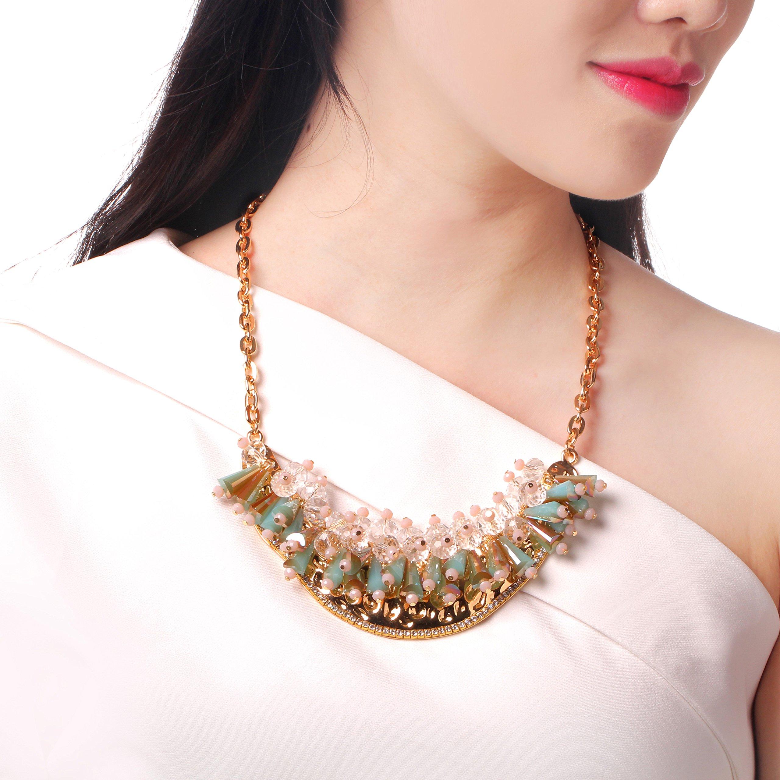 HONEYJOY New Dazzle Colour Crystal Female Luxury Clavicle Short Chain Exaggerated Fashion Necklace(blue) by HONEYJOY (Image #1)