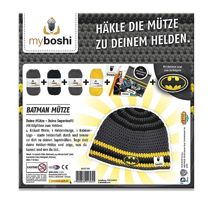 Noris Spiele 606311365 Myboshi Superhelden Batman Häkel Set
