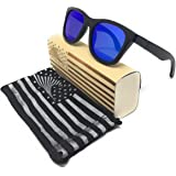 64c4bb601c Patriot Shades Polarized Floating Large Frame Bamboo Wood American Flag Wayfarer  Sunglasses