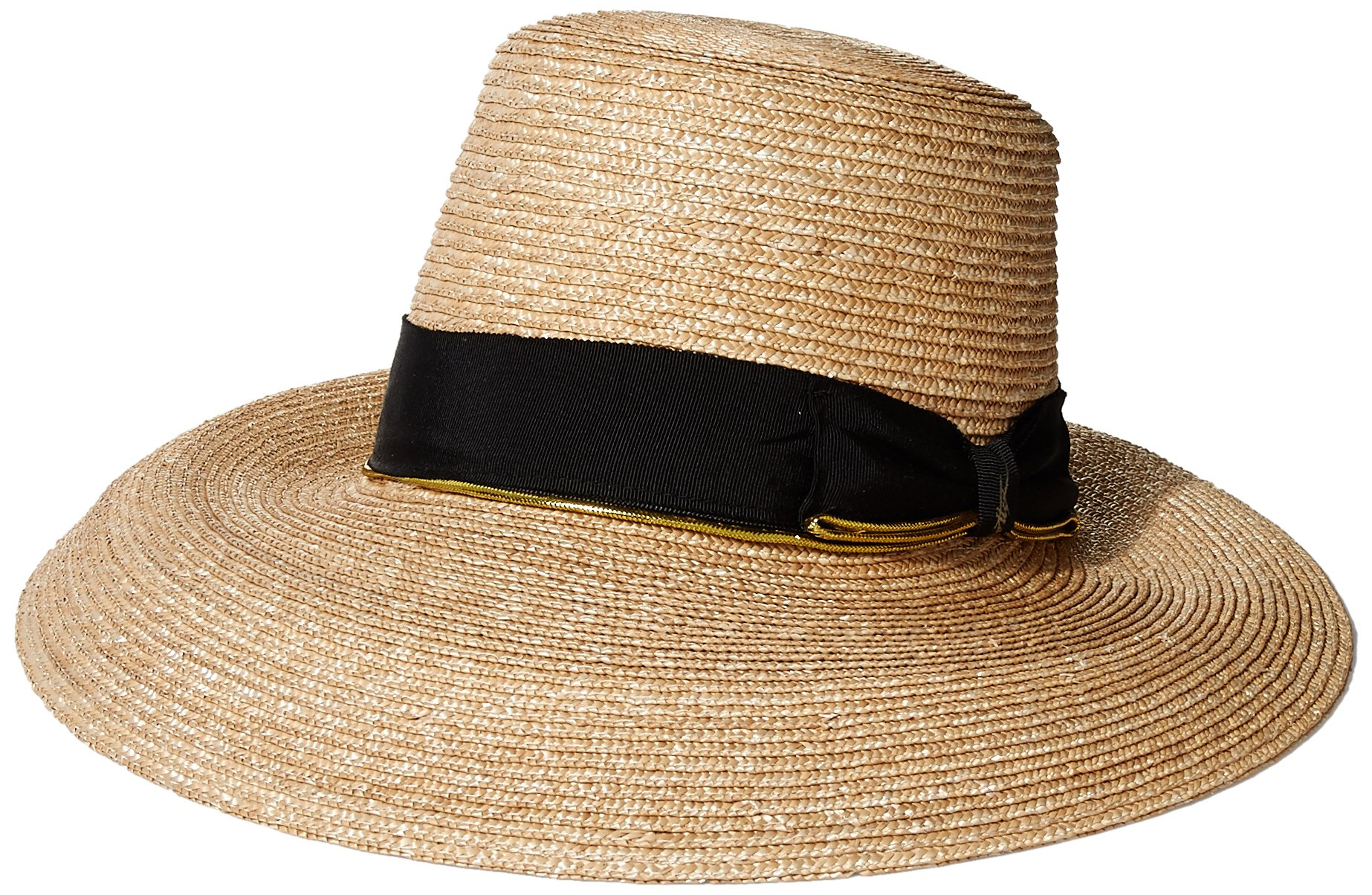 Gottex Women's Layla Fine Milan Sunhat Packable, Adjustable and UPF Rated, Natural/Black, One Size