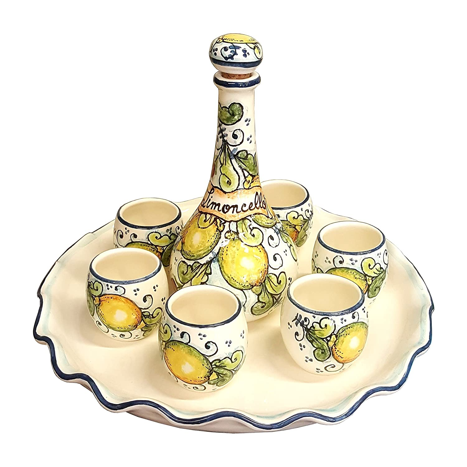 Italian Ceramic Pottery Set Includes Tray, Bottle, 6 Limoncello Cups Hand Painted with Lemons and Blue Detailing