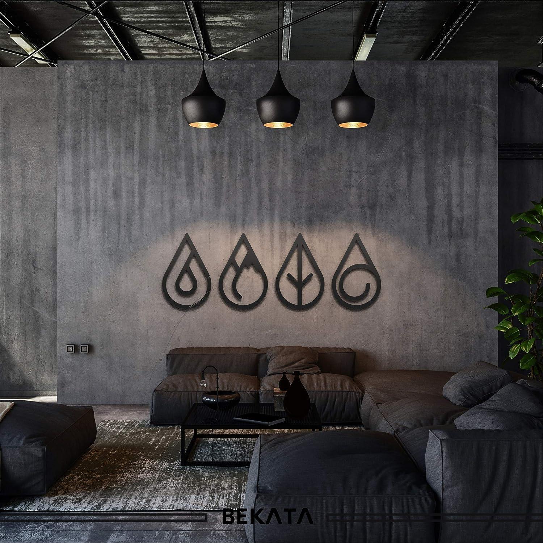 Bekata Cuatro Elementos Metal Wall Art Metal Decoración de pared Hogar Oficina Salón Dormitorio