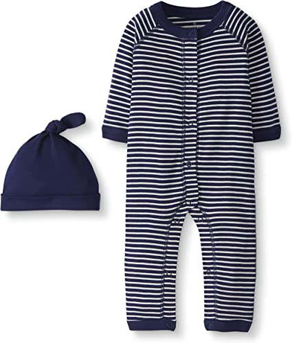 Preemie Grau meliert Moon and Back by Hanna Andersson Snap Front One Piece Coverall with Cap infant-and-toddler-layette-sets