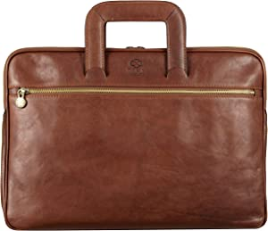 Genuine Leather Briefcase Slim Laptop Messenger Bag Brown Unisex - Time Resistance