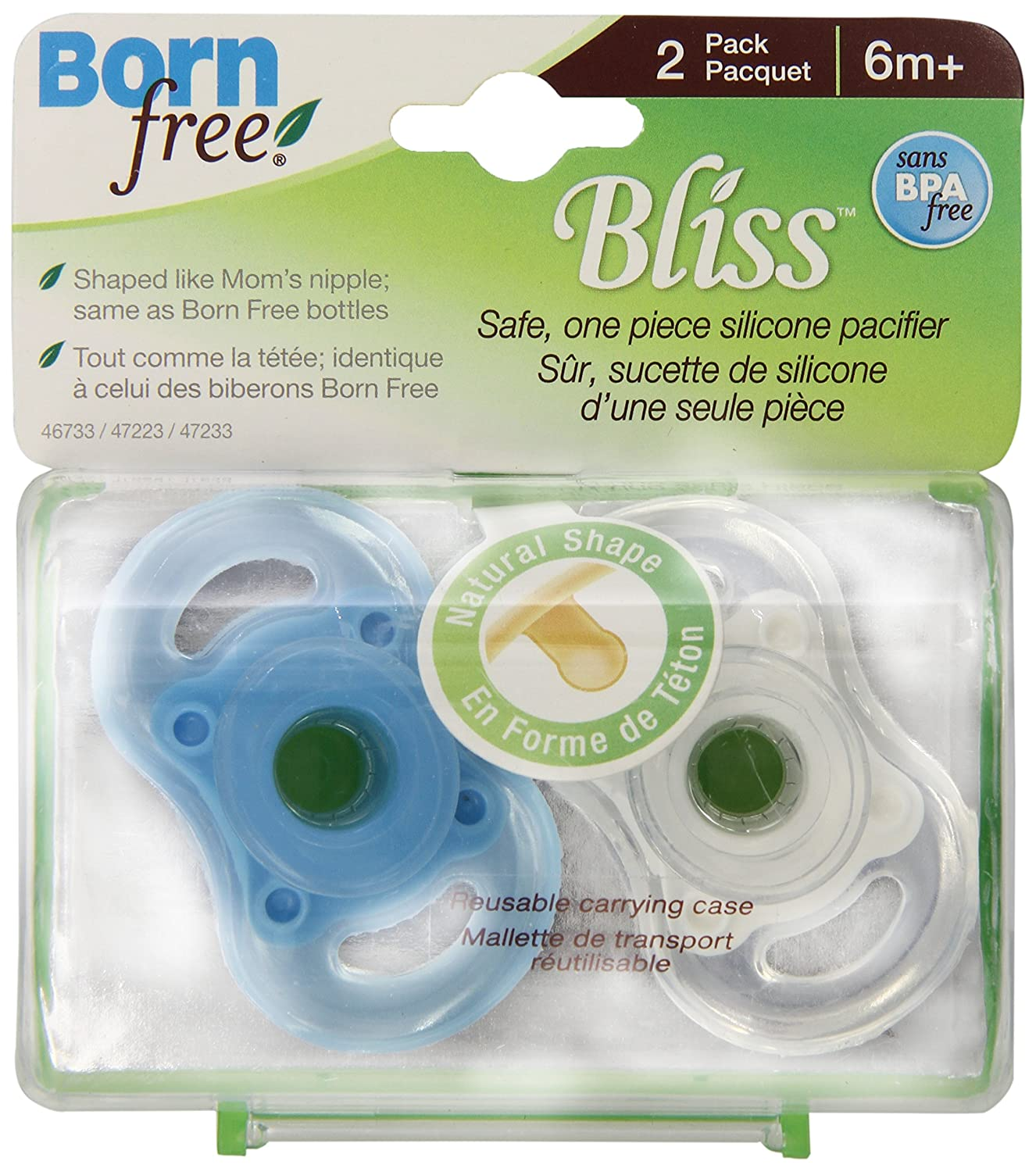 Born Free Bliss 0-6M Natural Shape Pacifier Blue /& Green  BPA FREE New