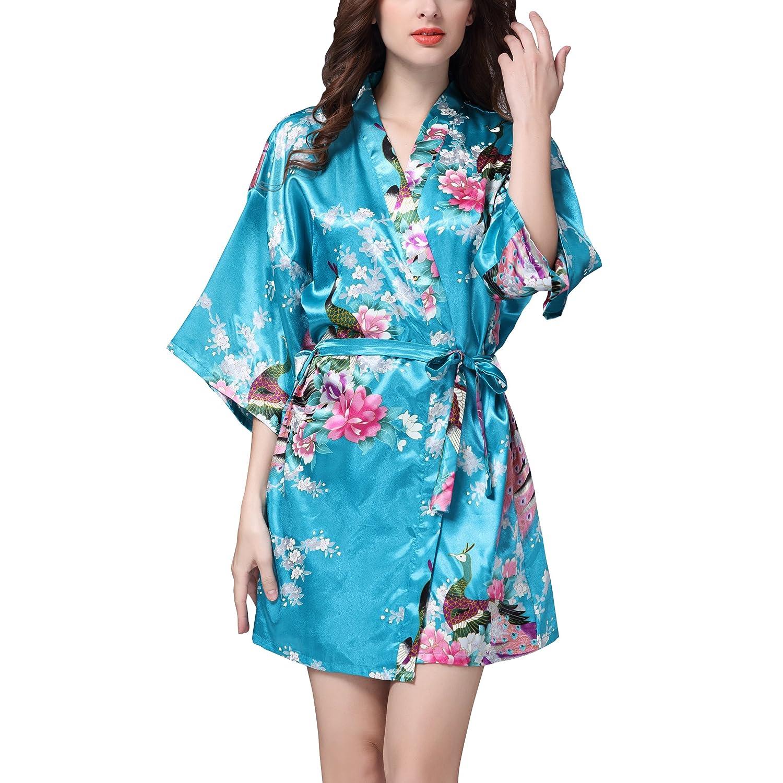 Dolamen Women's Dressing Gown Kimono, Satin Peacock Bathrobe Nightwear Pyjamas