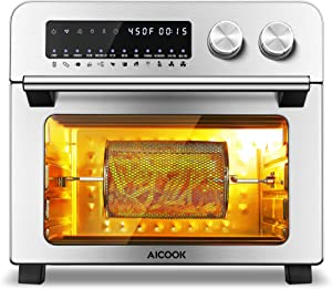 Air Fryer Toaster Oven, 12-in-1 Convection Toaster Oven 24 QT Smart Air Fryer Toaster Oven with LED Digital Touchscreen, 8 Accessories and 100 Recipes Included, 1700W
