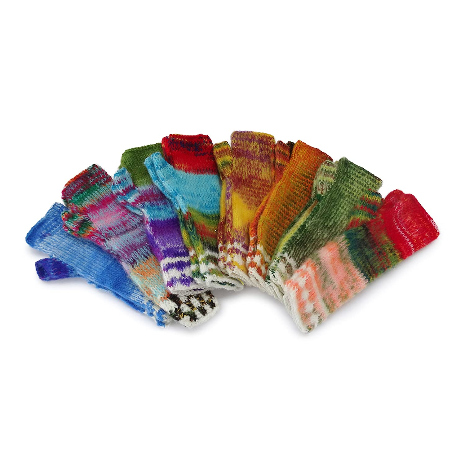 Colourful Wool Arm Warmers, Fair trade and hand-knitted Bolivia-One size only 30cm long