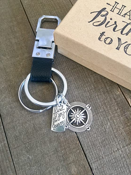 Genuine Leather Key Chain for Birthday with Gift Packaging Find joy in the Journey Gift Harper Olivia