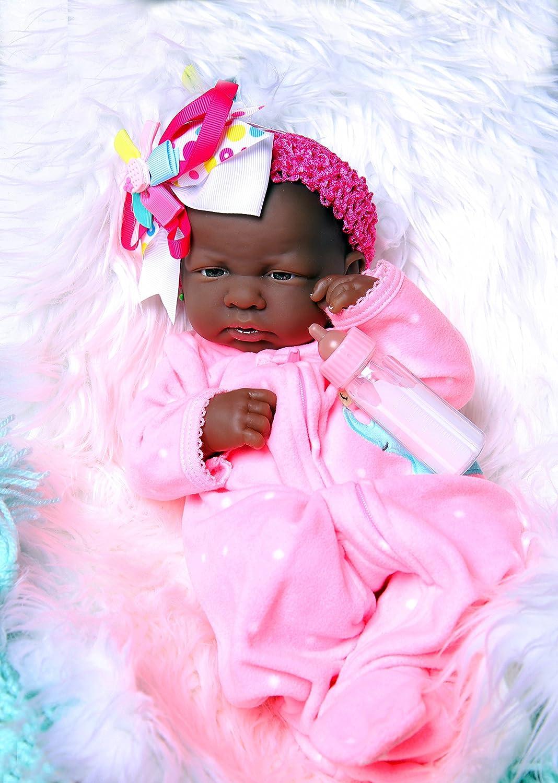 "My Cute African American Baby GirlリアルなBerenguer 15 ""インチ解剖学的に正しいReal Alive Baby Washable人形ソフトビニールwith Extrasアクセサリー   B07B559R7Z"