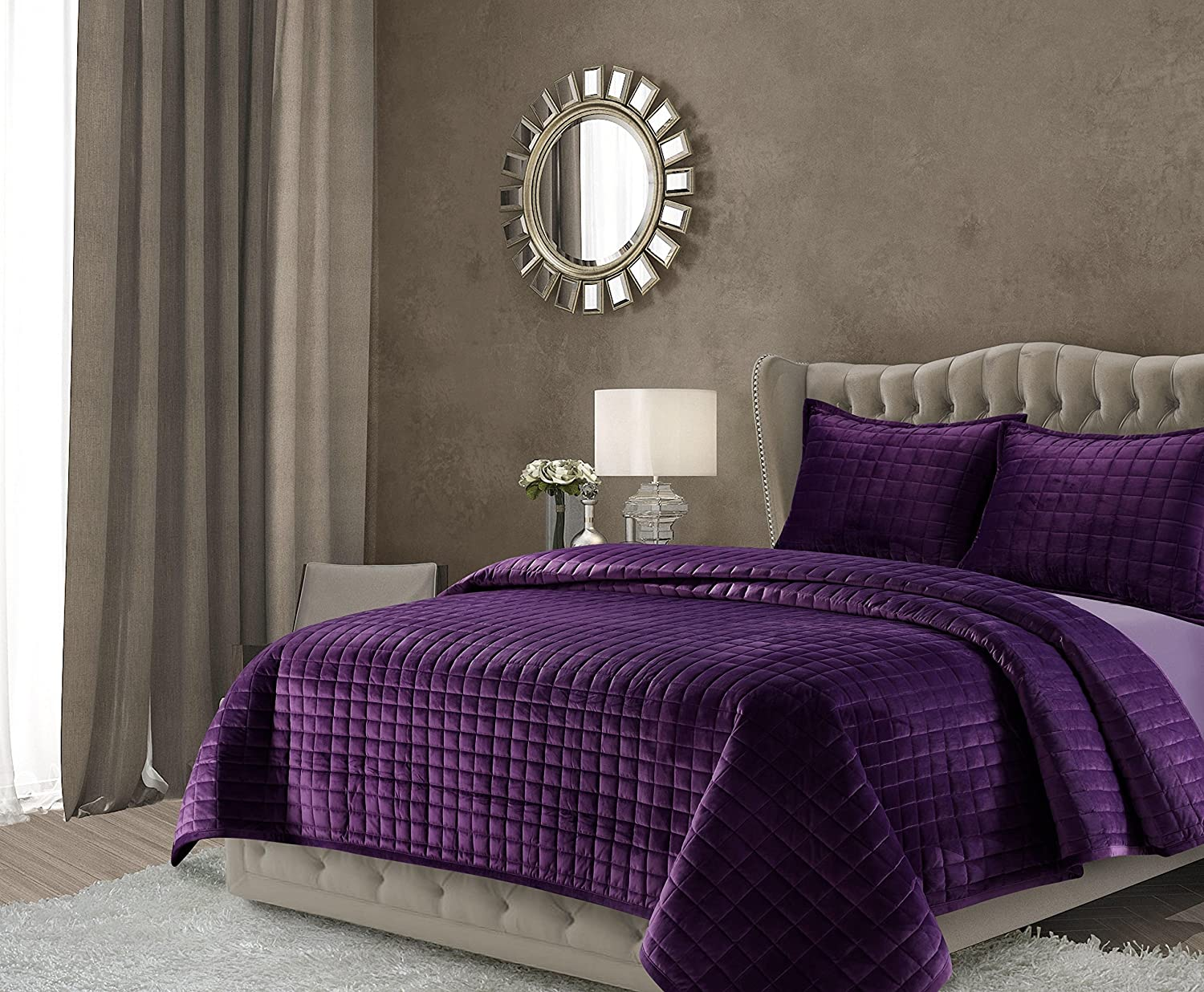 Tribeca Living FLORENCEQUIQUPU Florence Velvet Oversized Solid Quilt Set, Queen, Purple