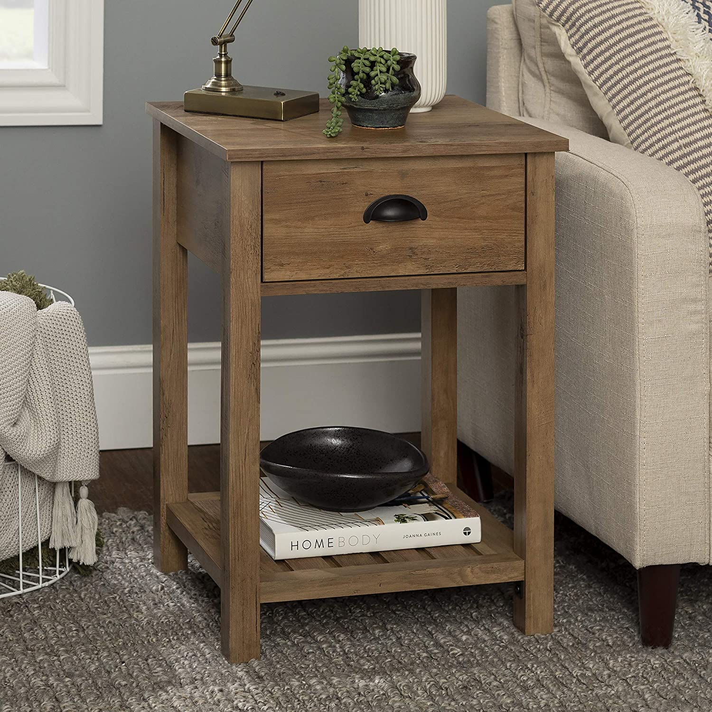 Walker Edison Country 1-Drawer Nightstand, 18 Inch, Rustic Oak