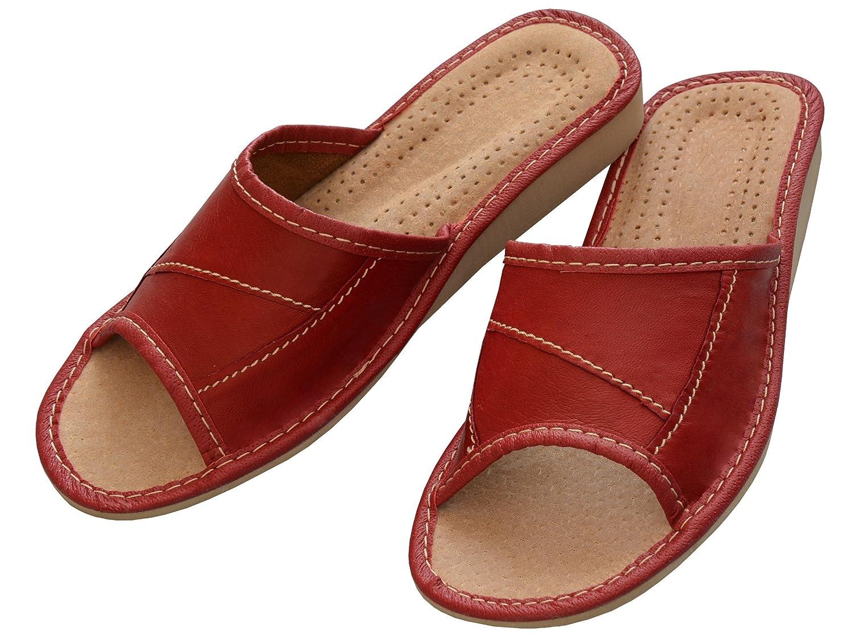 35-41 Taille Noir Marron Rouge Beige pour Femme Haut Resistance Bawal Femmes Authentique Cuir Chaussons Pantoufles