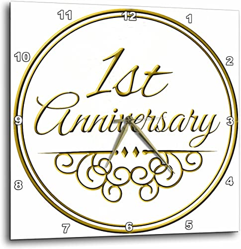 3dRose DPP_154443_2 1st Gold Text for Celebrating Wedding Anniversaries 1 First One Year Together Wall Clock, 13 x 13