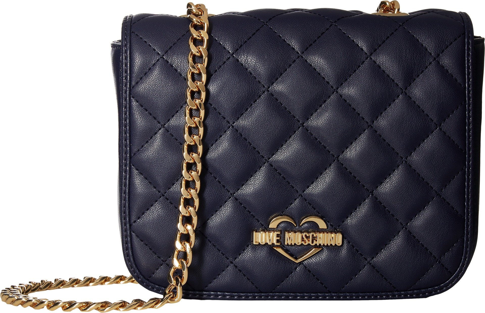 LOVE Moschino Women's Quilted Crossbody Chain Strap Navy Crossbody Bag