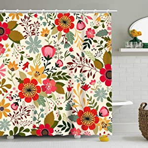Floral Shower Curtain Chic Flowers Leaves Buds Artwork, Fabric Bathroom Decor Set with Hooks, 72 Inches Long, Multicolor