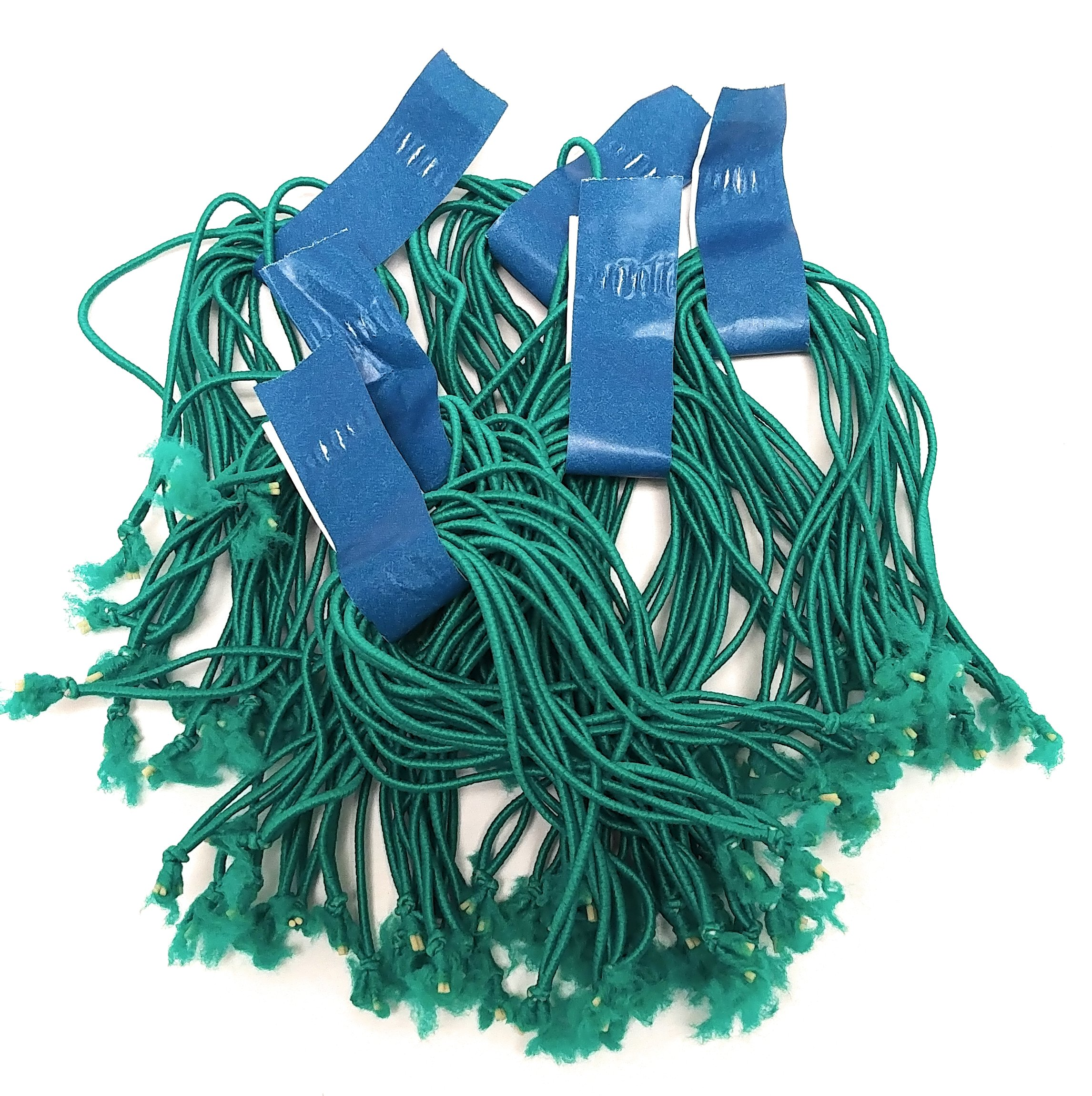 Clucker-Truss Elastic Gourmet Trussing Strings; 5 Inch Green; Bulk bag of 3,750 Ties (250 Bundles of 15/Bundle)