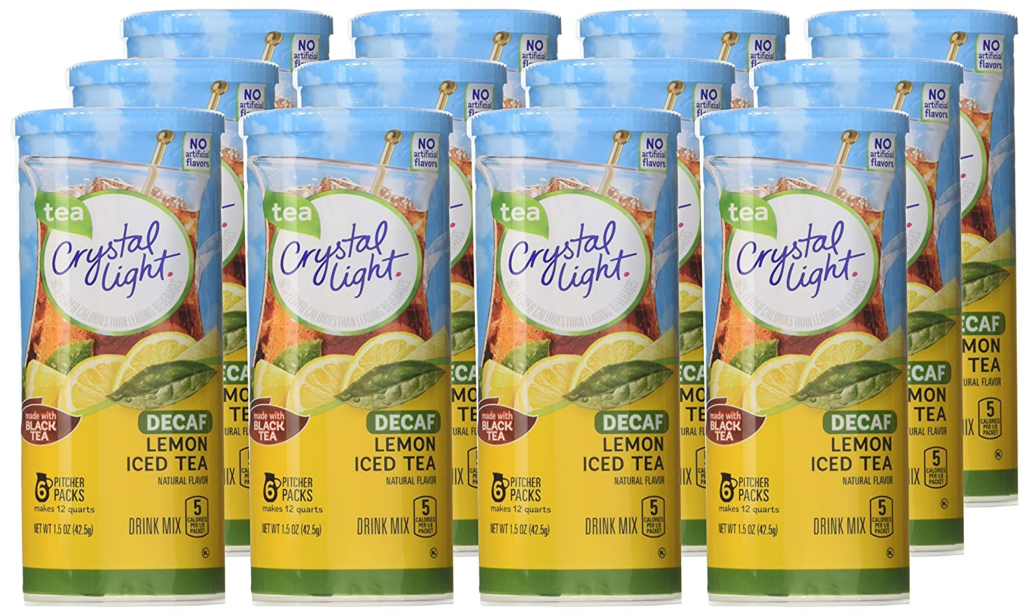 Crystal Light Decaf Iced Tea Drink Mix, Natural Lemon Flavor, 1.5 Ounce Packages: Amazon.es: Alimentación y bebidas