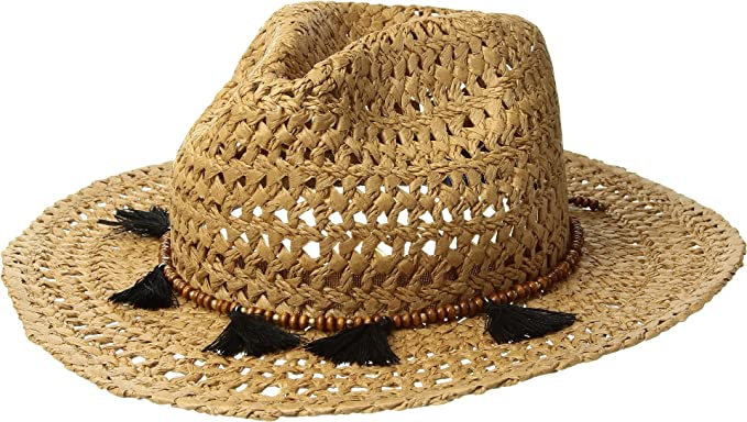 1be25a968a1 Hat Attack Women s Cane Rancher w Wood Bead Tassel Toast Black One Size