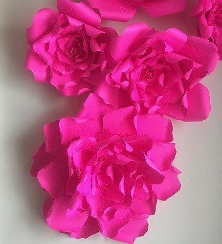 Amazon Com Giant Fuschia Pink Paper Flower Backdrop Fuchsia Paper