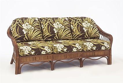 Amazon.com: South Sea Rattan Bermuda Sofa in Pecan Finish ...