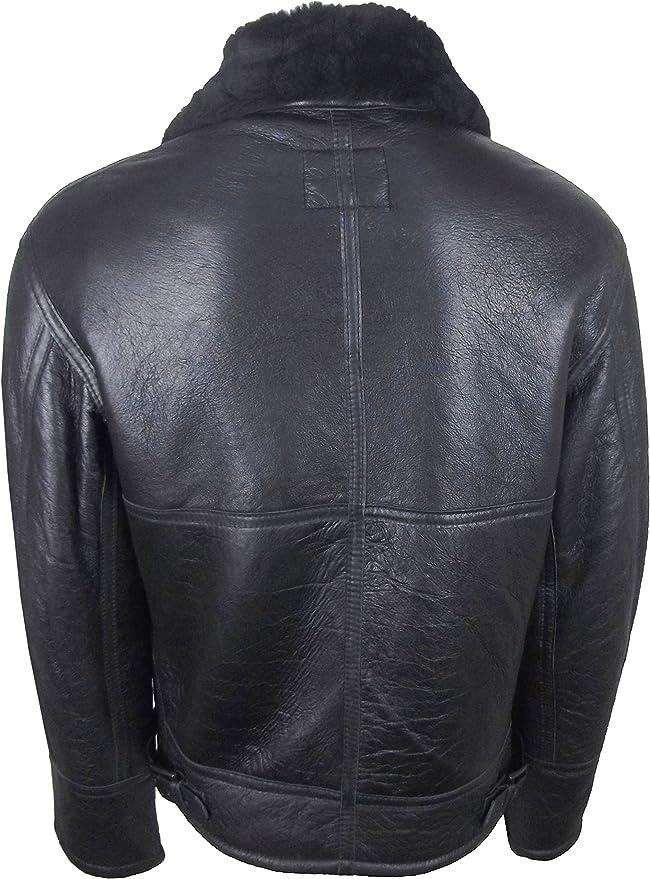UNICORN Männer Echte Leder Jacke Schafspelz fliegend Luftwaffe Flieger  Mantel - Schwarz mit schwarzem Fell #s0: Amazon.de: Bekleidung