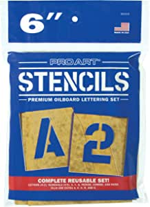 PRO ART 3010-6 6-Inch Painting Stencil Set, Letters and Numbers