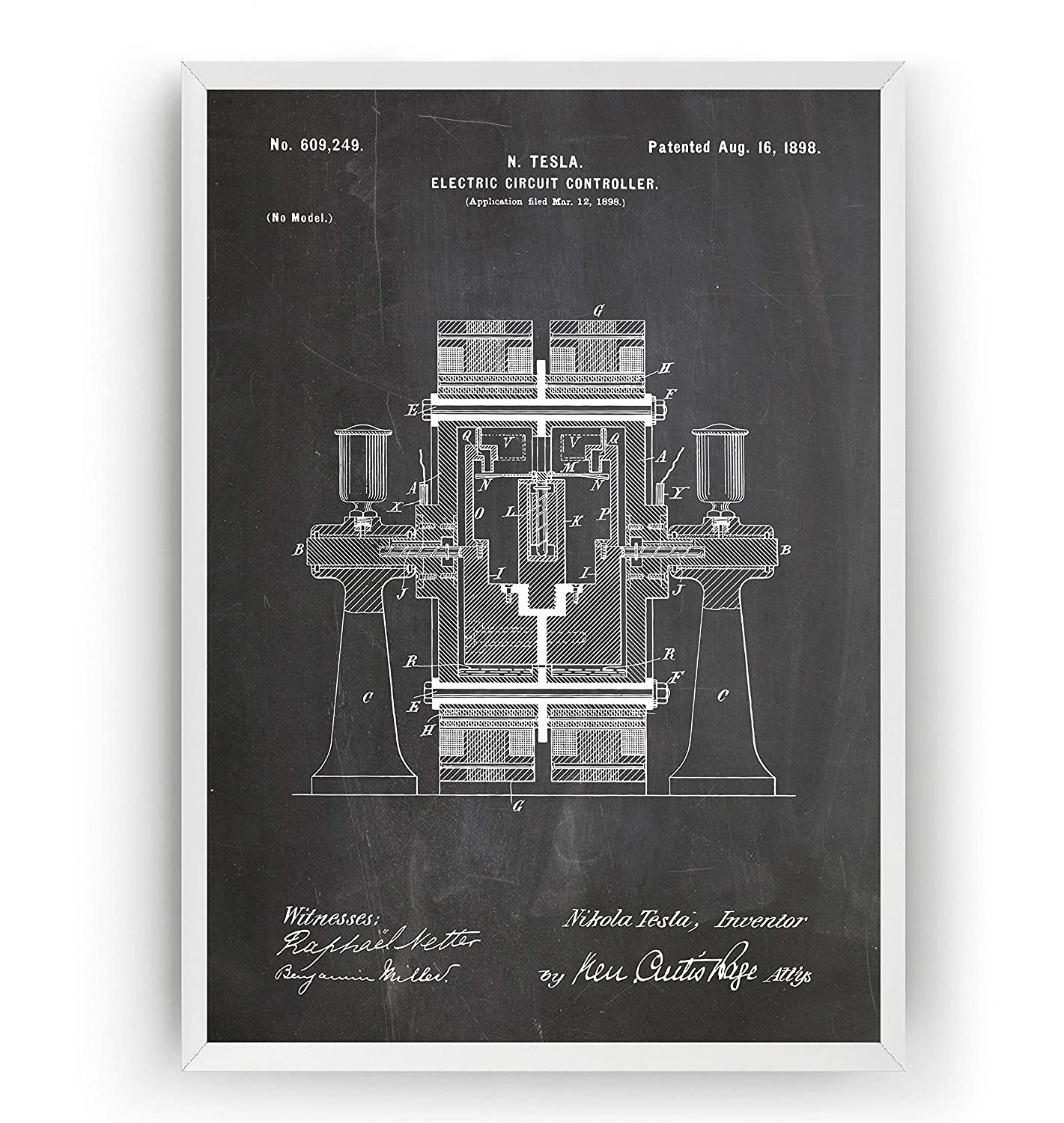 Engineering Gift Engineer Science Vintage Blueprint Wall Poster Art Frame Not Included Tesla Patent Prints Set Of 4