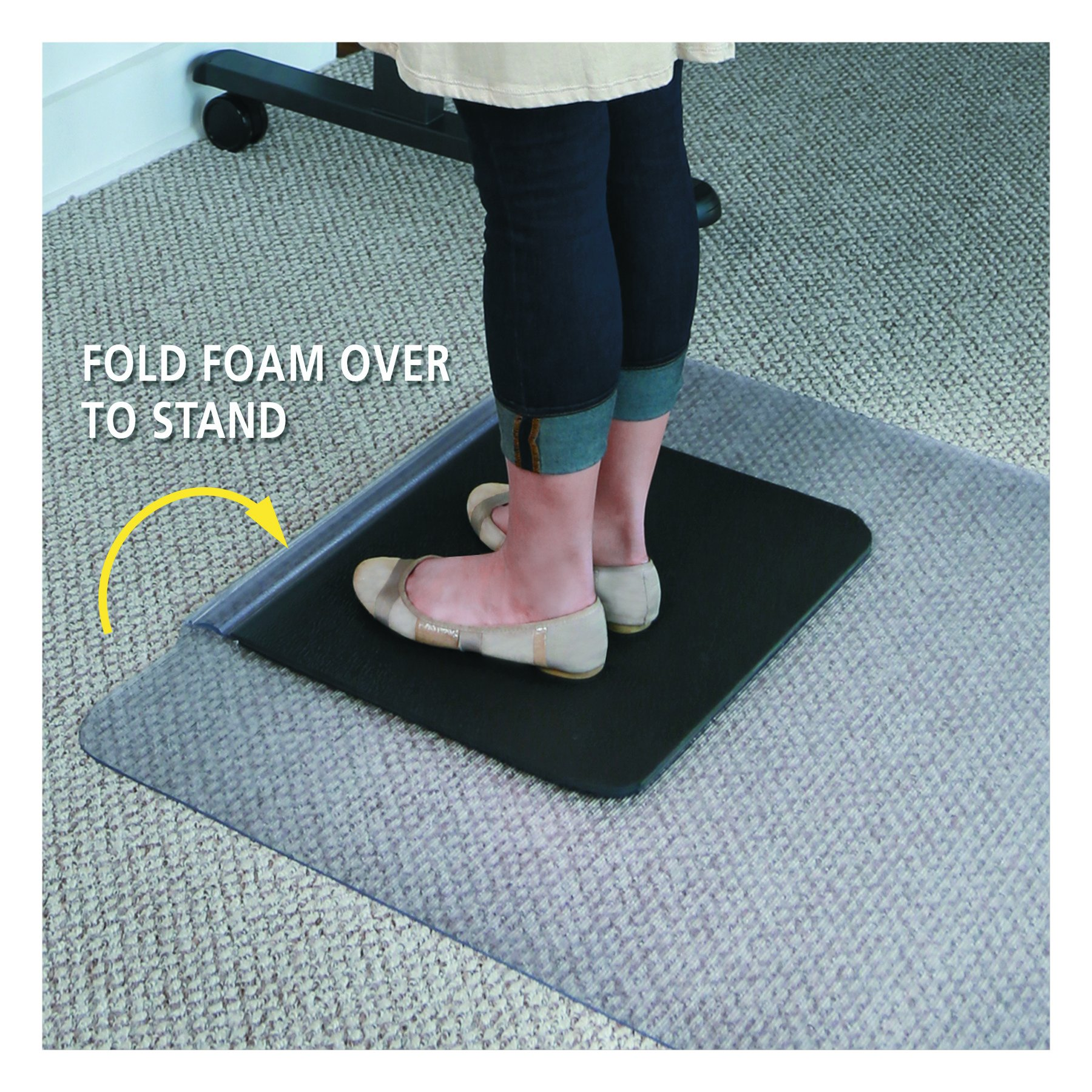 ES Robbins Sit or Stand Mat for Carpet or Hard Floors with Lip, 36'' x 53'', Clear/Black by ES Robbins