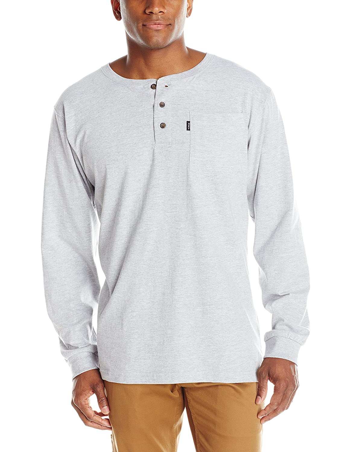 Key Apparel Men's Heavyweight 3-Button Long Sleeve Henley Pocket T-Shirt 865H