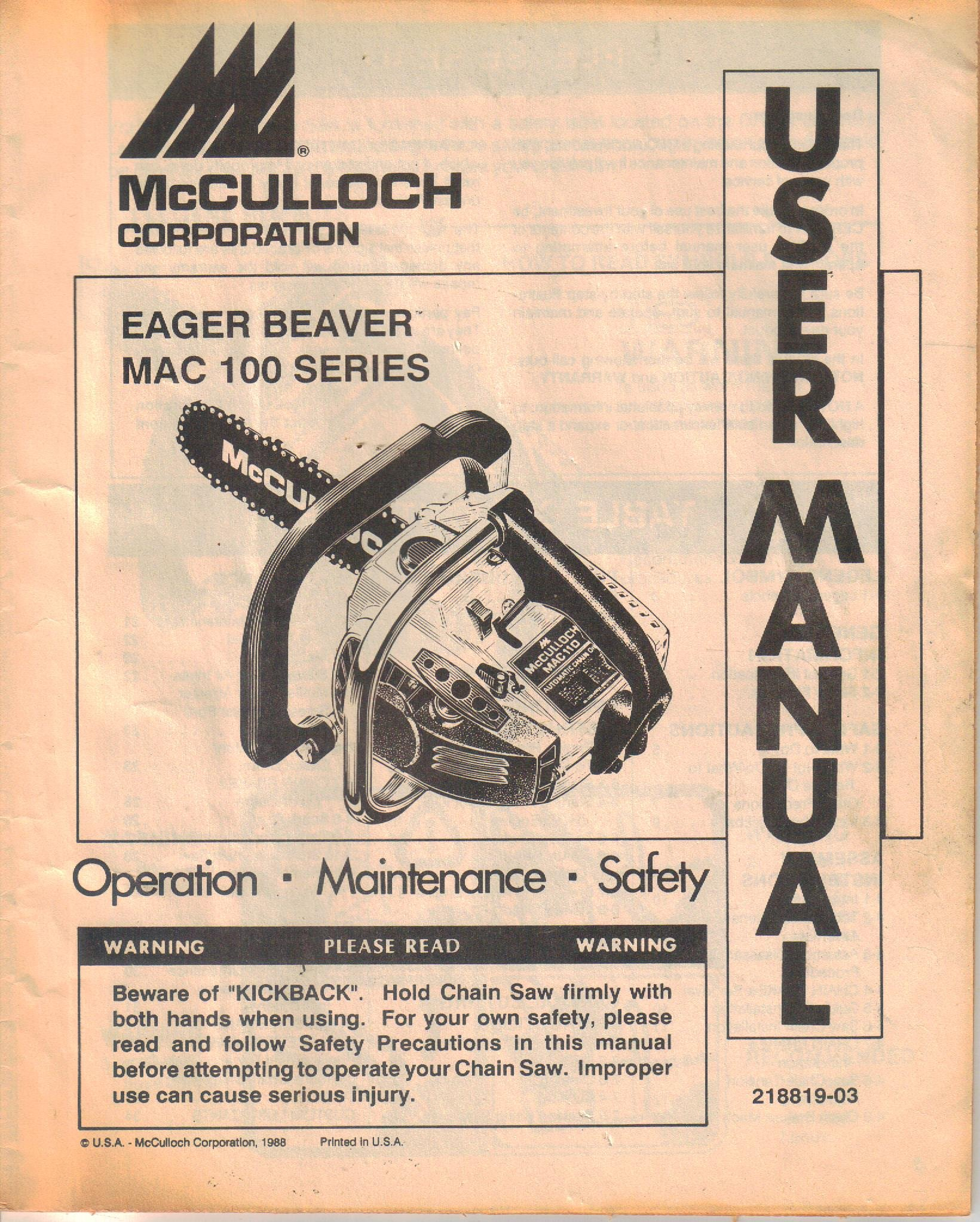 Mcculloch eager beaver mac 100 series chain saw operator manual mcculloch eager beaver mac 100 series chain saw operator manual maintenance safety user guide mcculloch not stated amazon books fandeluxe