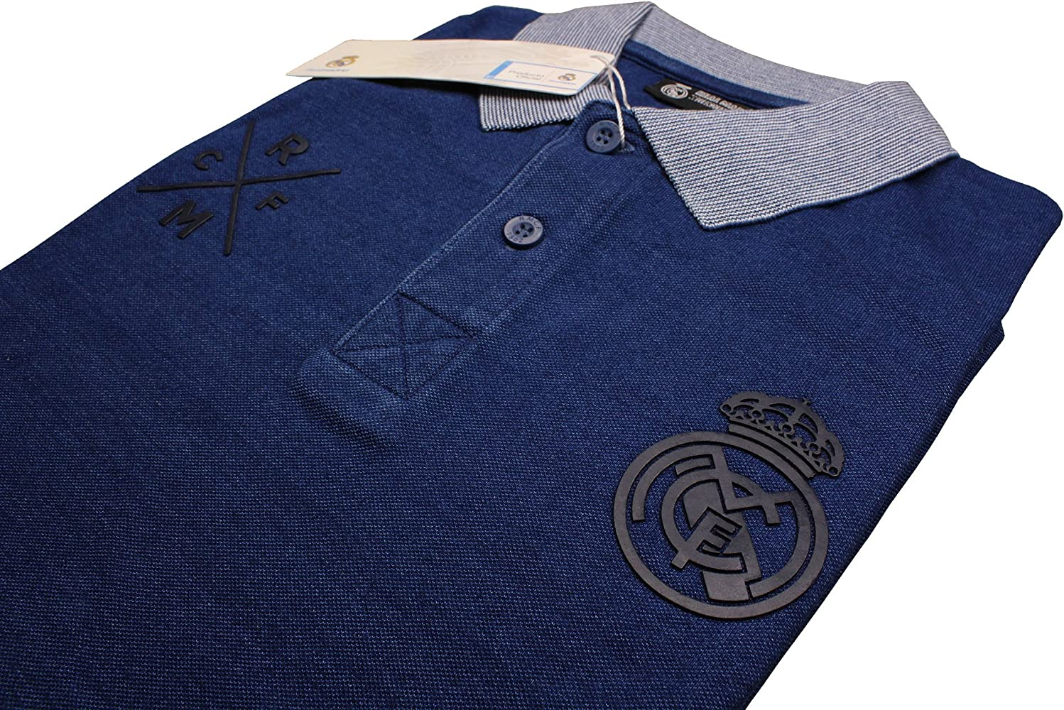Real Madrid FC Polo Oficial Azul Marino/Gris (M): Amazon.es: Ropa ...