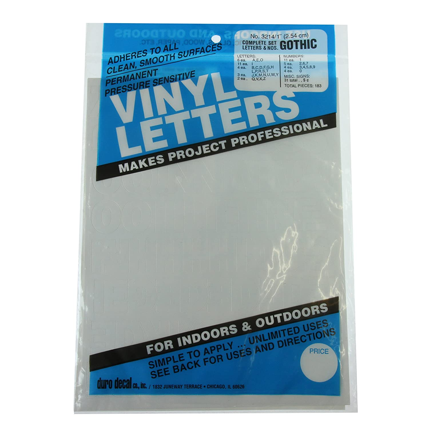 Permanent Adhesive Vinyl Letters & Numbers 1 183/Pkg-White GRAPHIC PRODUCTS D3214-WHITE