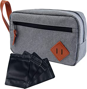 MuskOx Scent Proof Bag, Dog Tested Travel Pouch with 4 Smell Proof Baggies