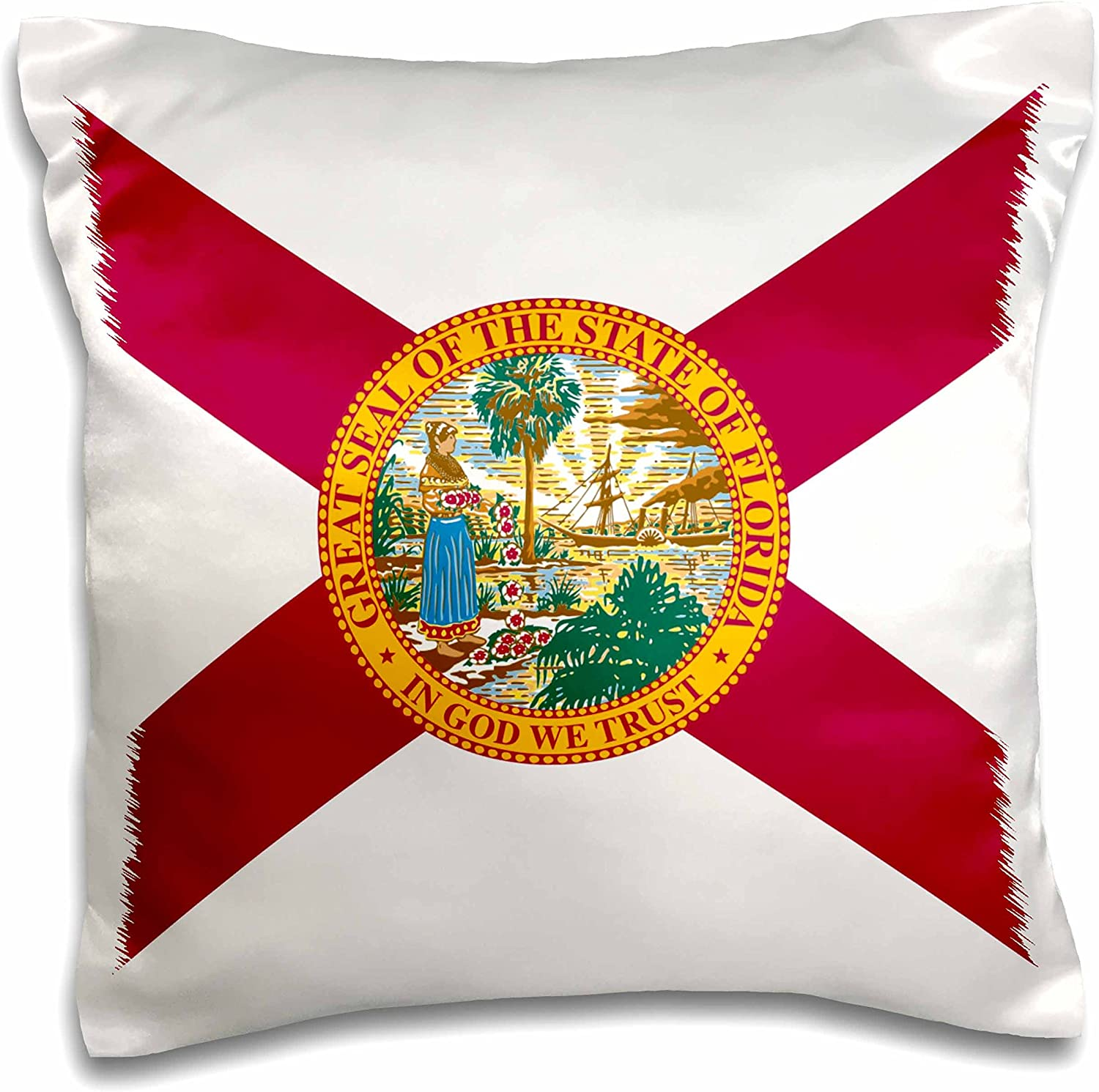 Amazon Com 3drose Flag Of Florida Us American State United States Of America Usa Red Cross With State Seal Pillow Case 16 By 16 Inch Pc 158317 1 Home Kitchen