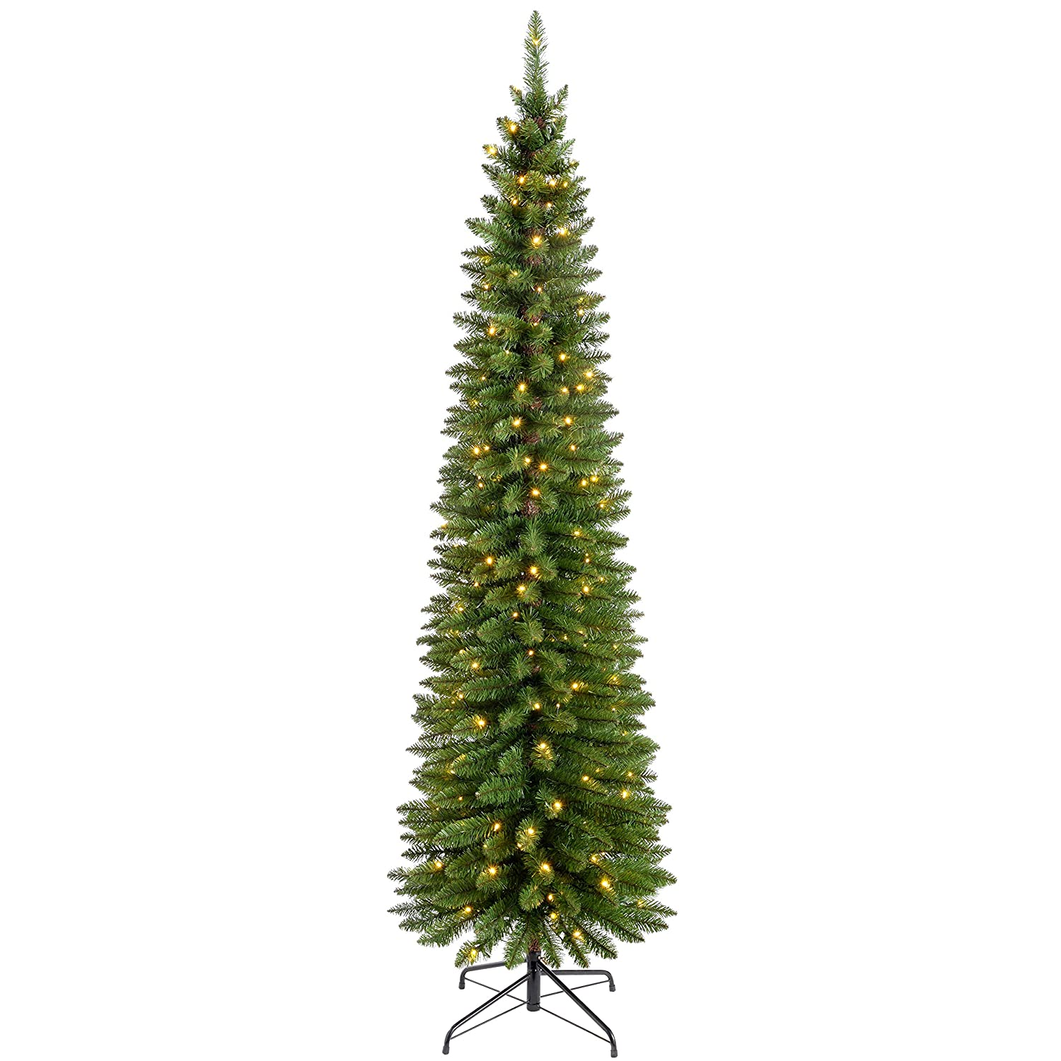 WeRChristmas Pre-Lit Pencil Christmas Tree with 180 LED Lights, 6.5 ...