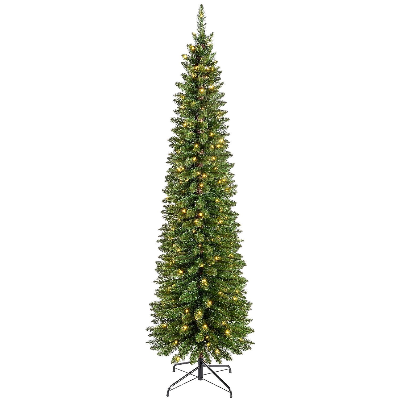 Werchristmas Pre Lit Pencil Christmas Tree With 180 Led Lights, 65