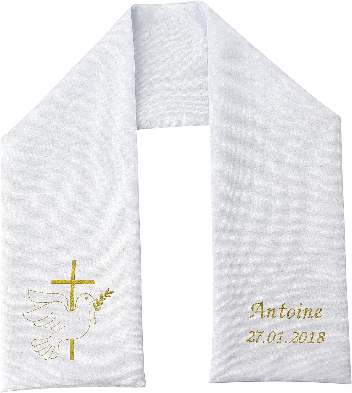 Etole de bapt/ême blanche avec broderie Ange Prieur