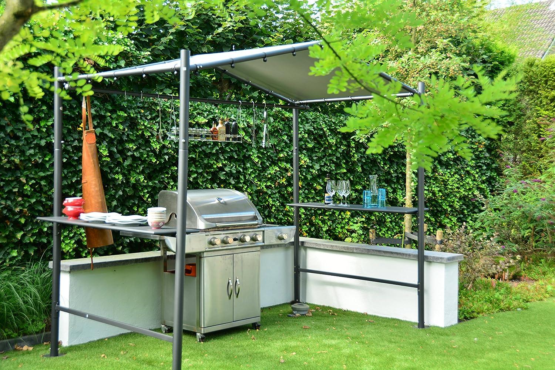 Pabellón BBQ Grill Carpa | Gris oscuro | 265 x 150 cm | SORARA | PVC 610 g/m² | Jardín y exterior | Carpa para fiestas: Amazon.es: Jardín