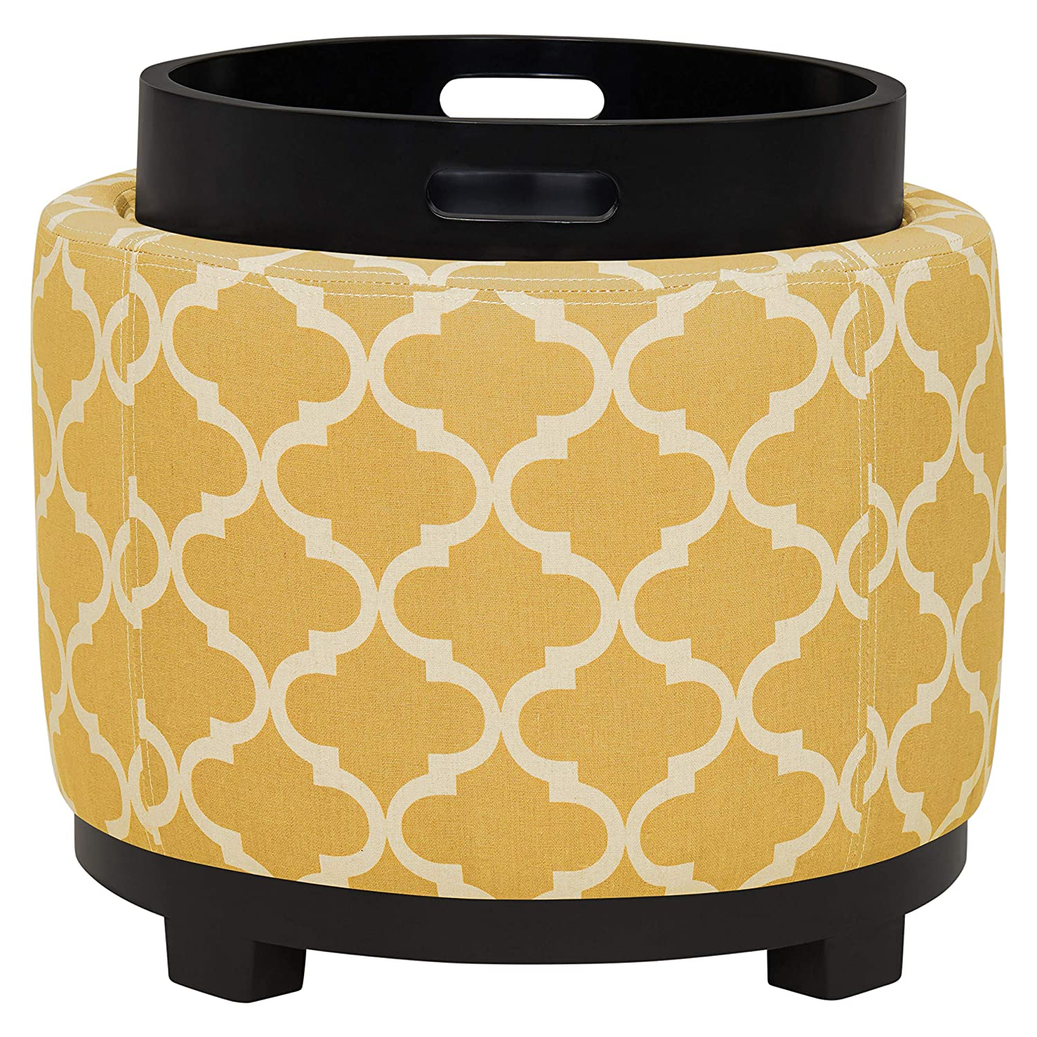 Ravenna Home Morrocan Storage Ottoman with Tray – 19 Inch, Yellow and Cream