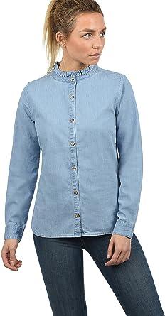 BlendShe Dina Blusa Camisa Mangas Largas para Mujer con Cuello Alto De 100% algodón