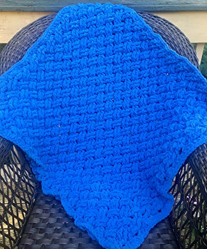 Amazoncom Kays Crochet Baby Boy Blanket In Blue Velvet Handmade