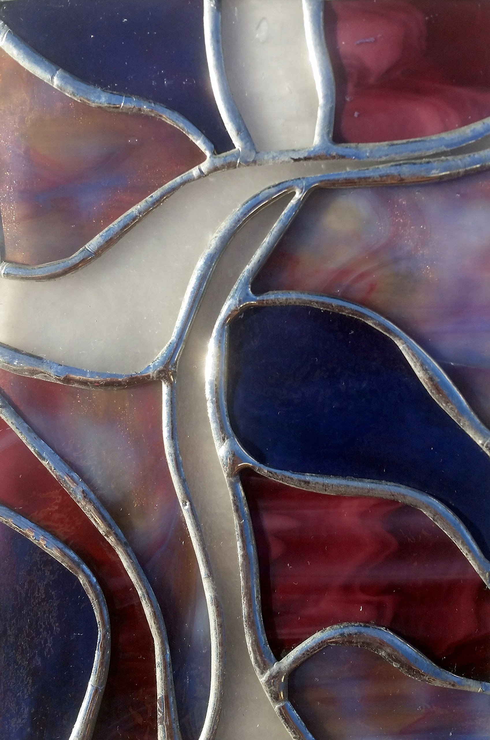 Handmade Stained Glass Abstract Art Cross Easter Suncatcher Window Spirit Ornament