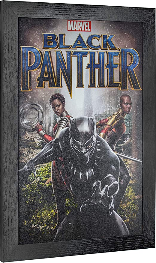 Amazon Com Officially Licensed Marvel Comics Black Panther Movie Poster Framed Wall Art 19 H X 13 L Home Kitchen