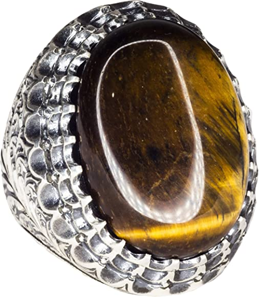 Tiger-Eye Natural Gemstone Handmade Sterling Silver Ring Steel Pen Crafts Falcon Jewelry Sterling Silver Men Ring