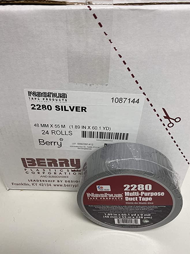"""Silver Duct Tape 2/"""" x 60 Yards 6 Mil Utility Grade Adhesive Tapes 24 Rolls"""