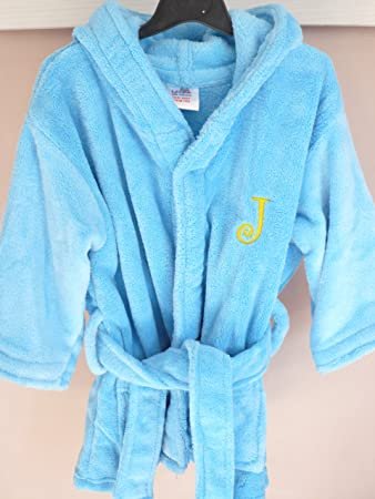 dressing gown personalised kids (3-4 years, Blue - with out dots ...